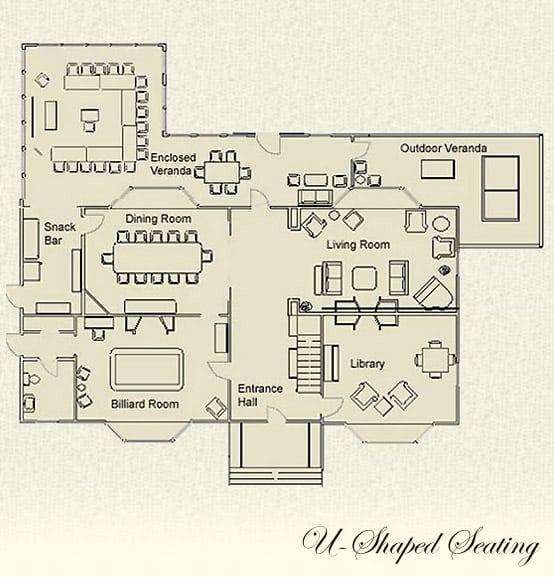 U-shaped seating floor plan