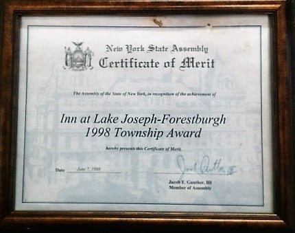 1998 Township Award presented to Inn at Lake Joseph