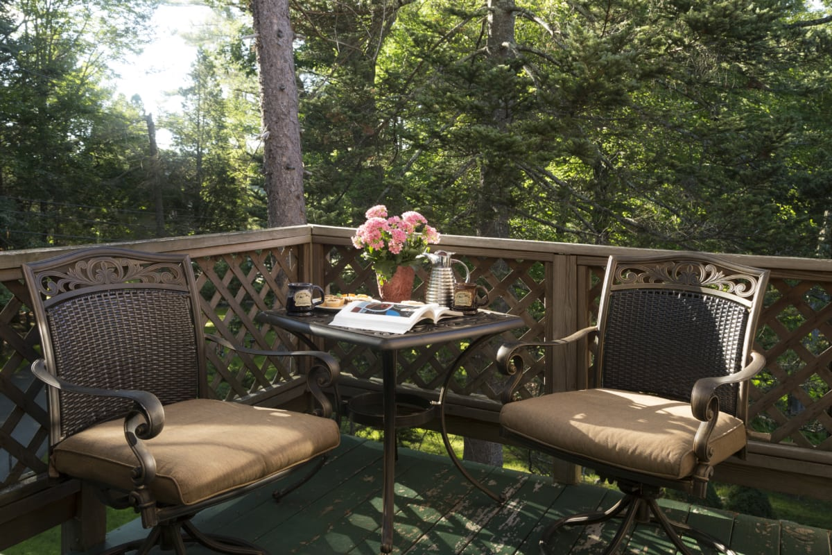 Redwood deck with two chairs