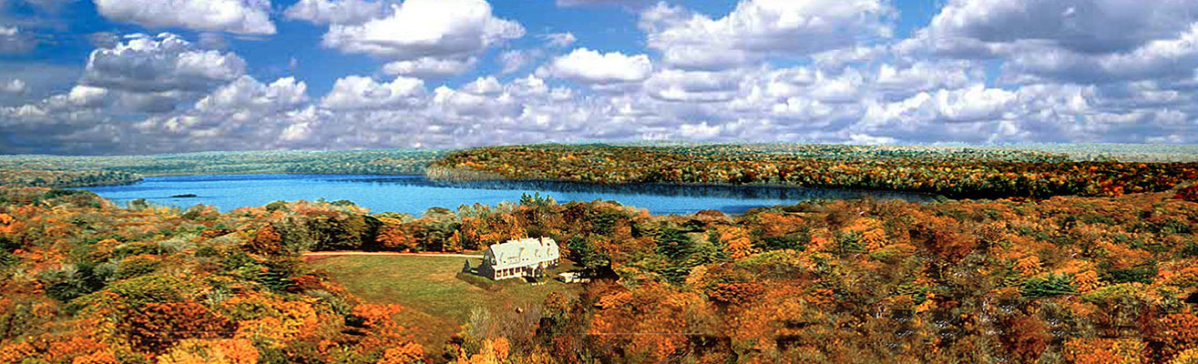 Aerial view of the lake in Fall