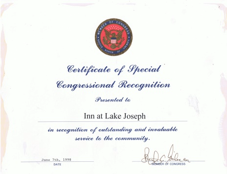 Certificate of Special Congressional Recognition presented to Inn at Lake Joseph on June 7th, 1998
