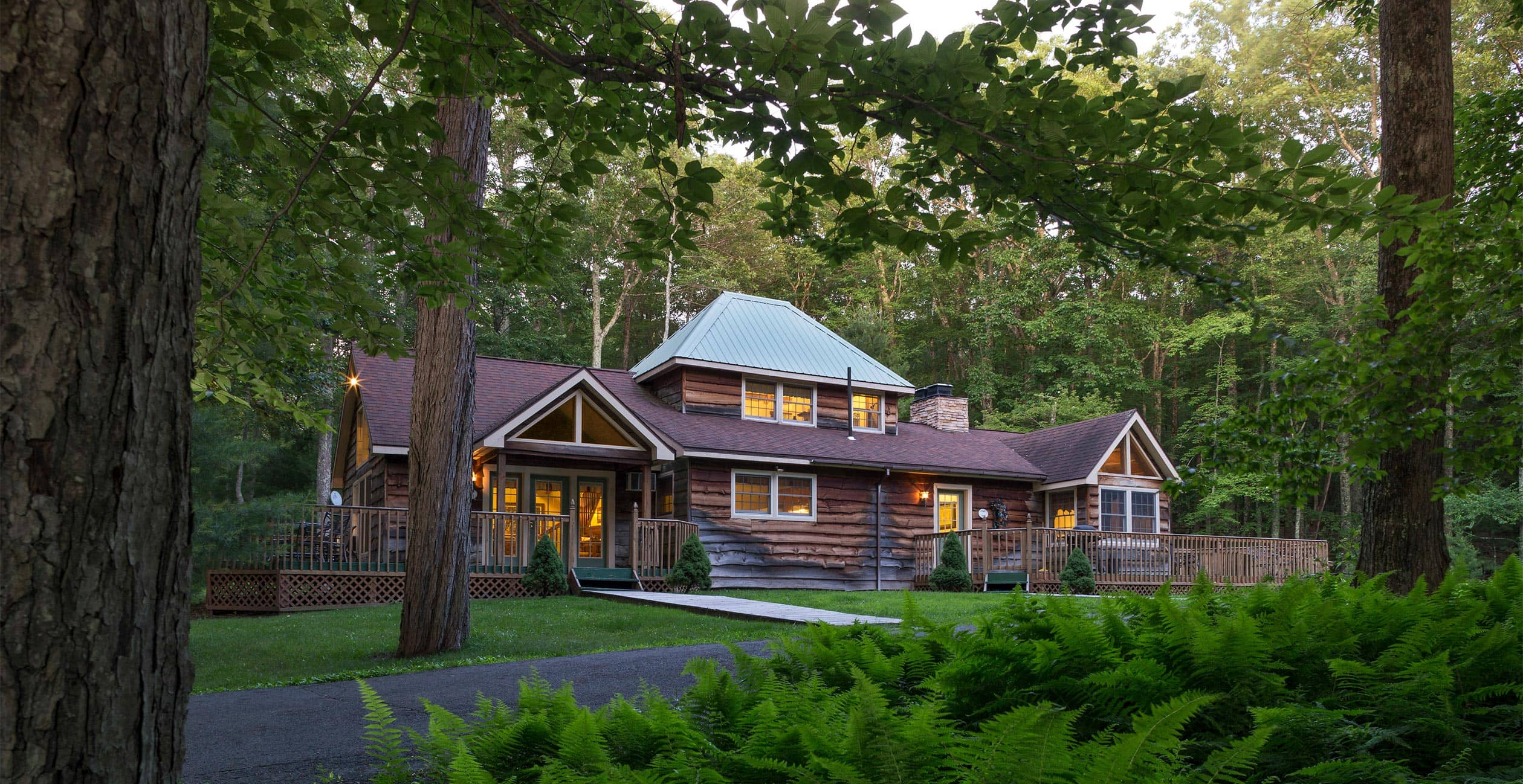 Exterior of Cottage at Dusk