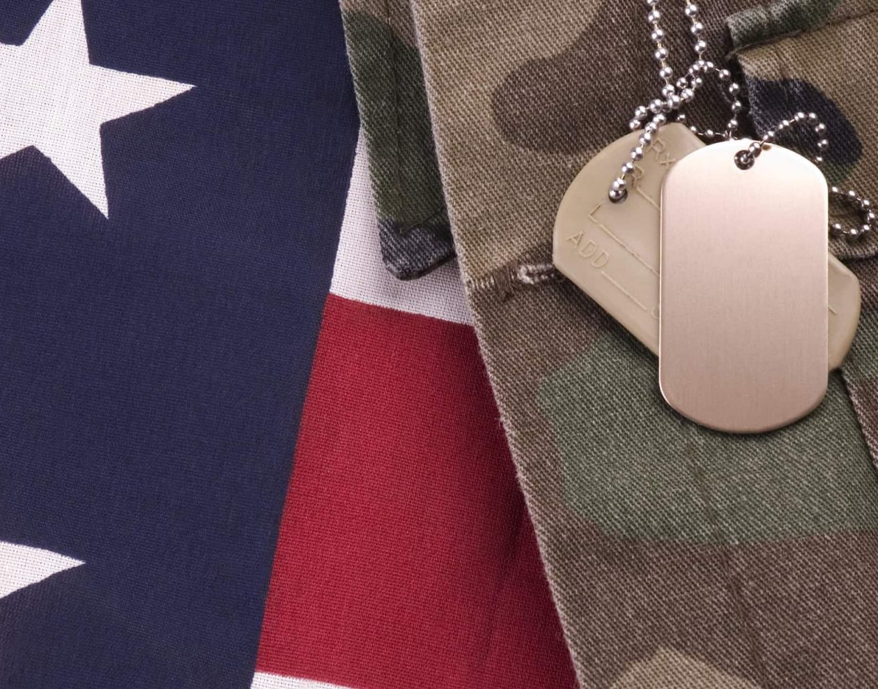 American flag, military uniform and dog tags