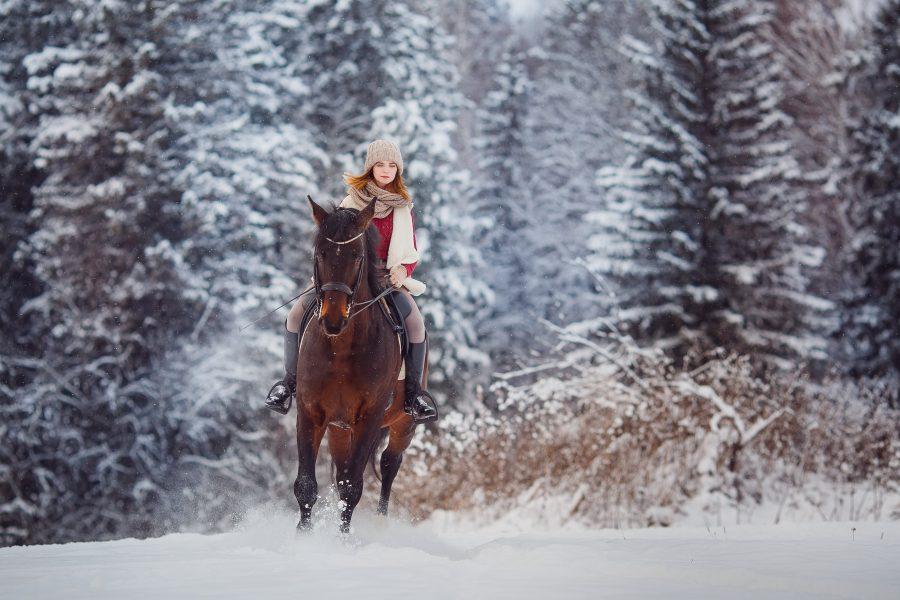 a woman riding a horse through the snow
